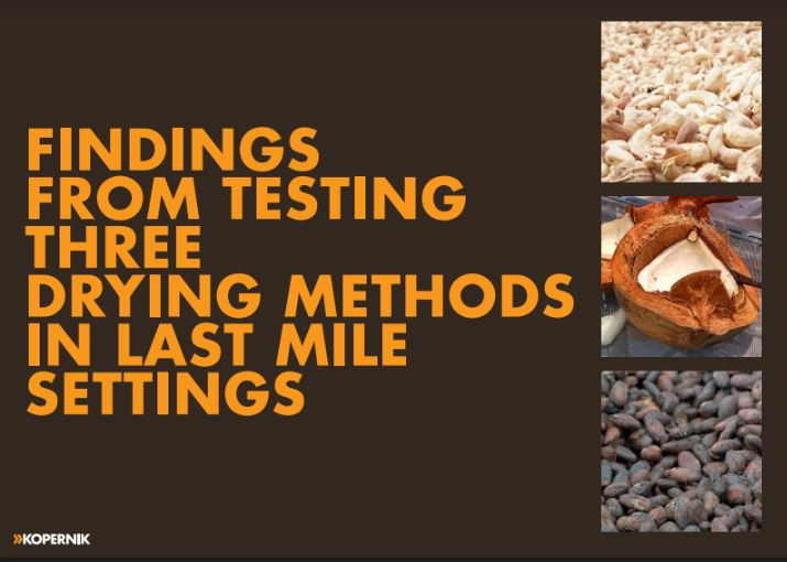 Findings from Testing Three Drying Methods in Last Mile Settings